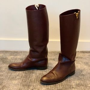 Louis Vuitton iconic riding burgundy boots size 38